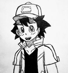 Ash ketchum (Non colored) by MYSTERY198650