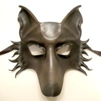 Grey Wolf or Dog Leather Mask by teonova