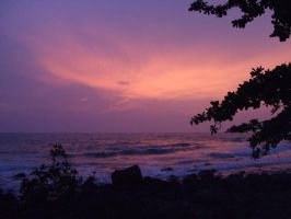 Mauve Sunset, Lonely Beach, Ko by scratchmark