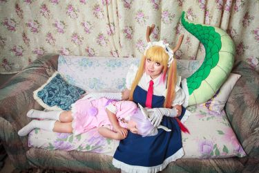 Tohru and Sleeping Kanna, Dragon Maid Cosplay by firecloak