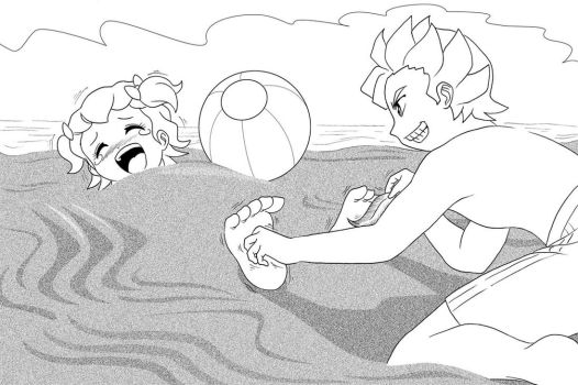 Lil and Phil at the beach by asrialfeeple