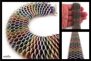 Rainbow Dragonscale Bracelet by coldfirecustoms