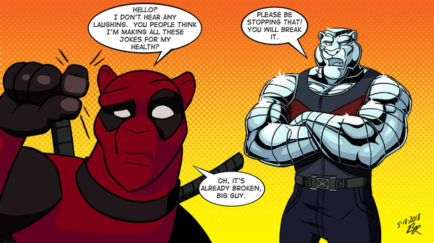 Jake and Tye as Deadpool and Colossus by RetroUniverseArt
