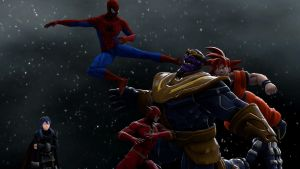 Dimensional Warriors stopping Thanos by kongzillarex619