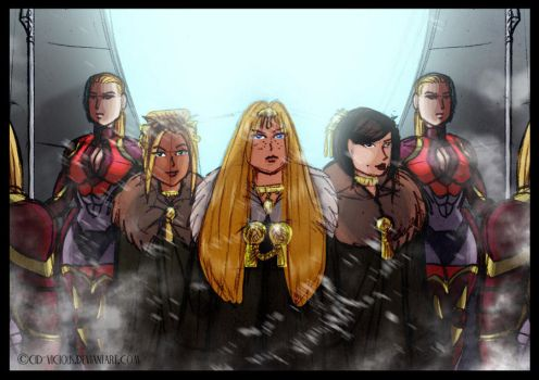 Mina and her attendants by Cid-Vicious