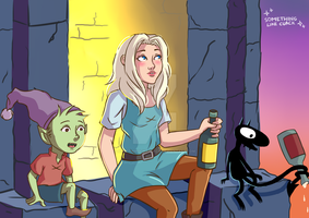 Disenchantment Fanart [Elfo, Bean y Luci] by somethinglikecuack