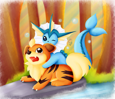 Pokemon Commission Vaporeon and Growlithe by Exceru-Karina