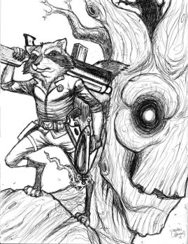 Rocket and Groot Ball Point Pen Sketch by LipGlossary