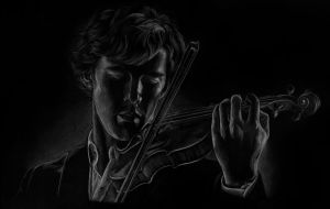 Sherlock playing the violin by Melnia