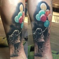 Little girl with balloons tattoo by SelfmadeTattooBerlin
