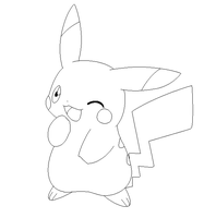 pikachu lineart 2 by michy123