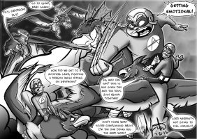 Aquabats vs. Lord Serpent grey scale by Gingco
