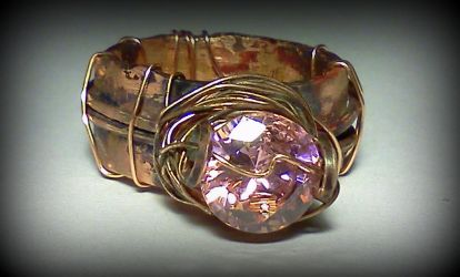 Copper Band with Pink CZ by designsbyandrea