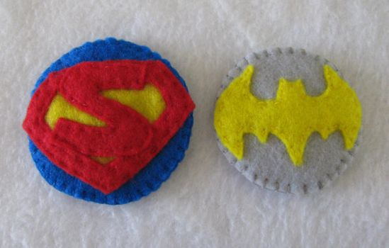 batgirl and superman hair clip by K-n-B-creations