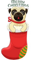 Christmas Pug by ScribalWriter