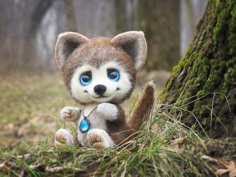 Baby Wolf Needle Felted Monty by Lyntoys