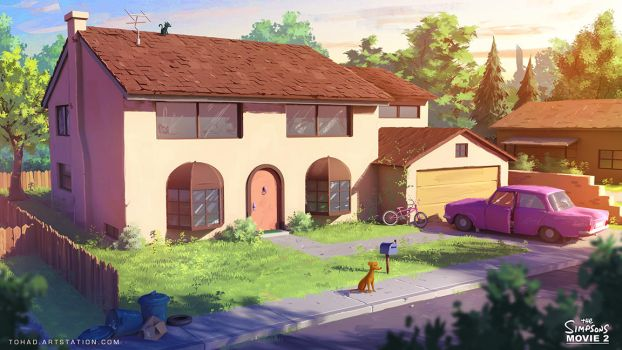 The Simpsons Movie 2 Environment design by Tohad