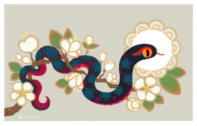 Snake and flowers 2 by pikaole