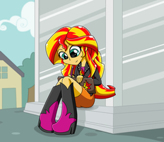 MLP Sunset Shimmer Equestria Girl Writing by drinkyourvegetable