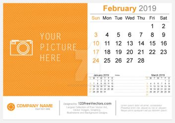 February 2019 Desk Calendar Free Vector by 123freevectors