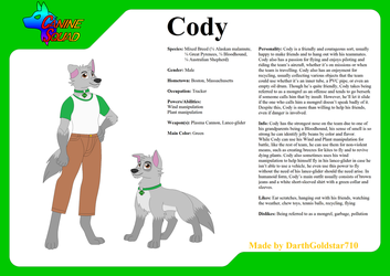 Canine Squad Ref. Sheet: Cody by DarthGoldstar710