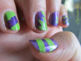 Purple and Lime Green - Right hand by CharleneKaraline