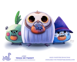 Daily Paint 1797# Trick or Tweet by Cryptid-Creations