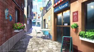 Coffee street - Visual Novel background by Vui-Huynh