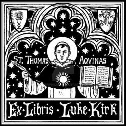 St. Thomas Aquinas bookplate by Theophilia