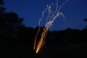 Roman Candle Firework at Dusk Stock by MogieG123