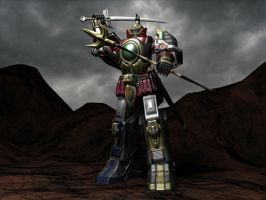 3d Thunder megazord/Dairen'oh high poly render by Wewvic