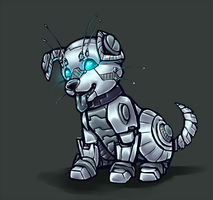 Cyberhound puppy by shibara-draws-mecha