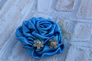 Blue satin French rose brooch (available) by TheBohoCraftsShoppe