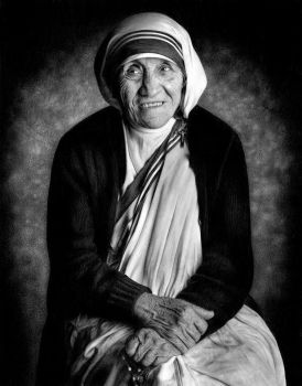 Drawing Saint Teresa of Calcutta by Heatherrooney