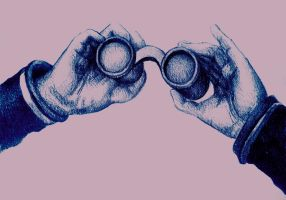 Colorful drawing of hand holding binoculars by oanaunciuleanu