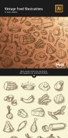 Vintage Food Illustrations Vector by Itembridge