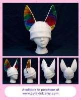 Rainbow Fennec Fox Hat by cutekick