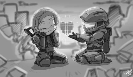 Chibi Master Chief meets Fem Shepard Valentine by Nogistune