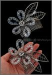 Bridal wirewrapped flower comb