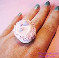 Macaroon Ring, Baby Pink and Lilac With Hearts by xhellojackiex