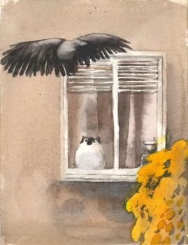 Cat and Crow by Fradga