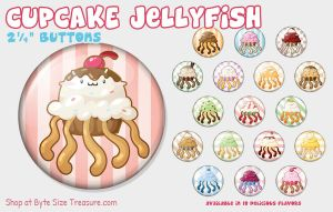 Cupcake Jellyfish Buttons by bytesizetreasure