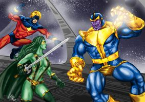 Thanos vs. Cosmic Heroes by rodstella