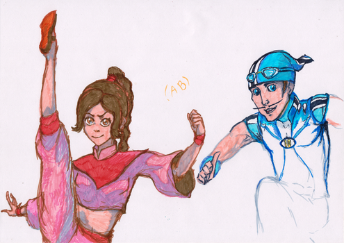 NOT MY CHARACTERS Ty Lee and Sportacus crossover by WhiteLedy