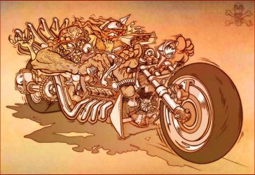 Love Tangled Biker Monsters by PatrickThornton