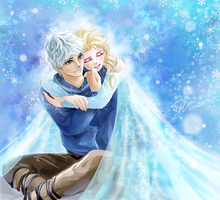 Jack Frost And Elsa by EYKIHAN