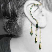 Emerald and gold ear wrap v9- SOLD by YouniquelyChic