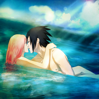 02 SasuSaku: In the sea by Lesya7