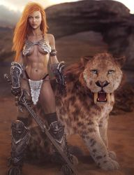 A Warrior and Her Sabertooth, Fantasy Woman Art by shibashake