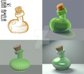 Bottle, from concept to 3D art by LaiaAmela